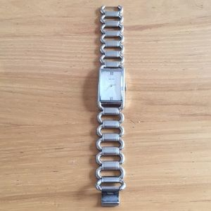 Rectangle face Nautica silver link watch
